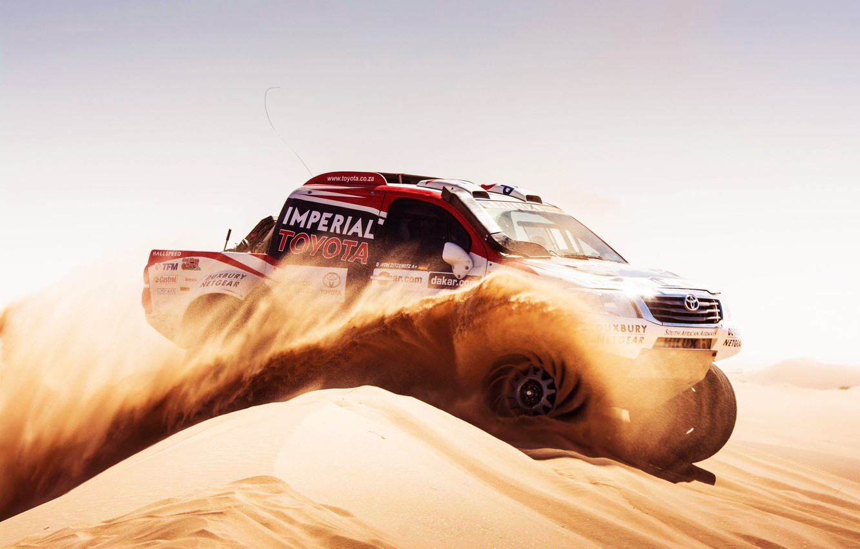 Photo wallpaper Sand, Auto, Sport, Speed, Race, Day, Toyota, Rally, Dakar, Dakar, SUV, Rally, Side view, 2014, ...