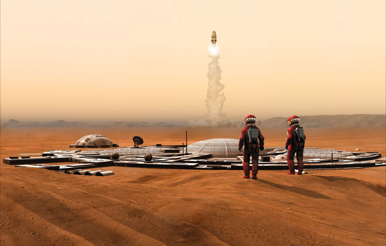 Photo wallpaper space, fiction, Mars, the astronauts, Rendering