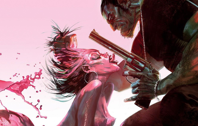 Photo wallpaper gun, pink, villain