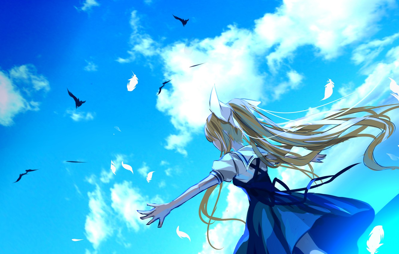 Photo wallpaper clouds, joy, birds, feathers, long hair, Air, sundress, blue sky, from the back, Heights, Kamio …