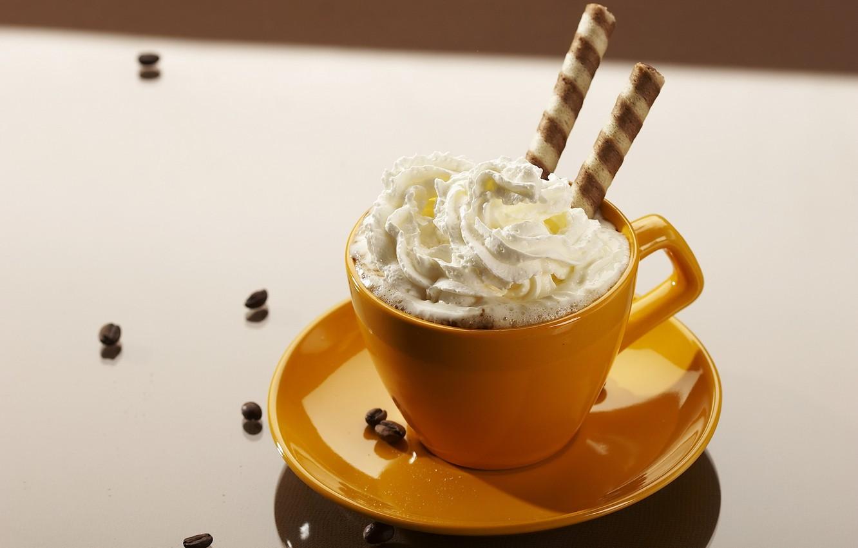 Photo wallpaper coffee, food, grain, cream, plate, mug, Cup, white background, cream, orange, sweet, gentle tops