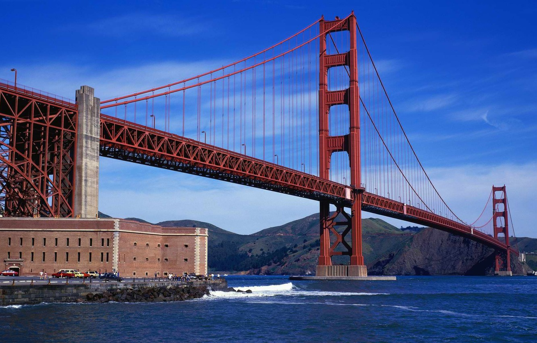 Photo wallpaper Bridge, Strait, House