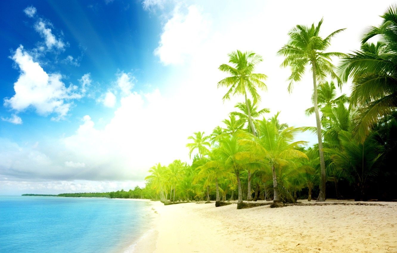 Photo wallpaper sand, sea, wave, beach, summer, the sky, water, the sun, clouds, palm trees, the ocean, …