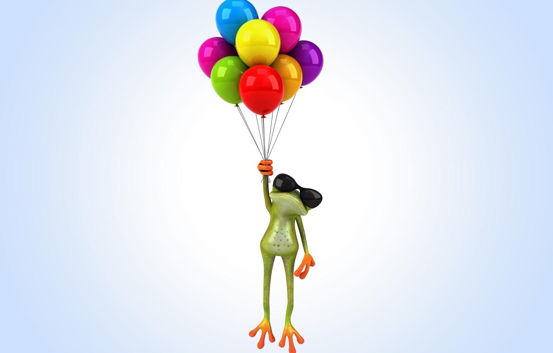 Photo wallpaper balloons, frog, frog, funny