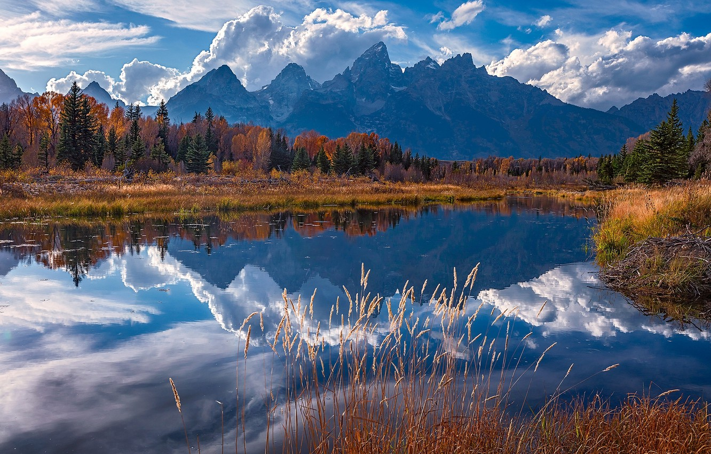 Wallpaper Autumn Mountains Reflection River Wyoming Wyoming