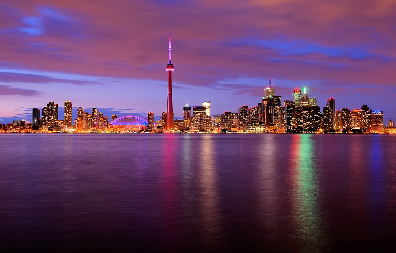 Photo wallpaper water, night, lights, tower, Canada, Toronto