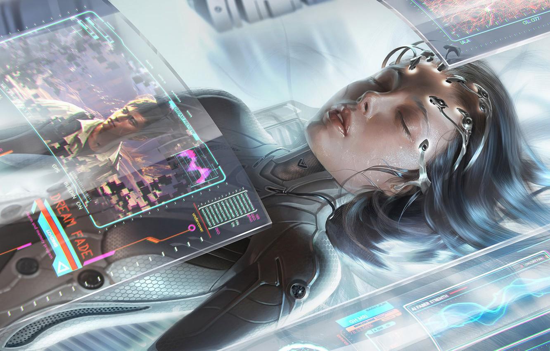 Wallpaper girl, cyberpunk, cyberpunk, closed eyes, sci fi