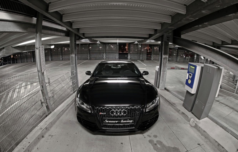 Photo wallpaper Audi, Black, Logo, The hood, Lights, RS5, Tuning