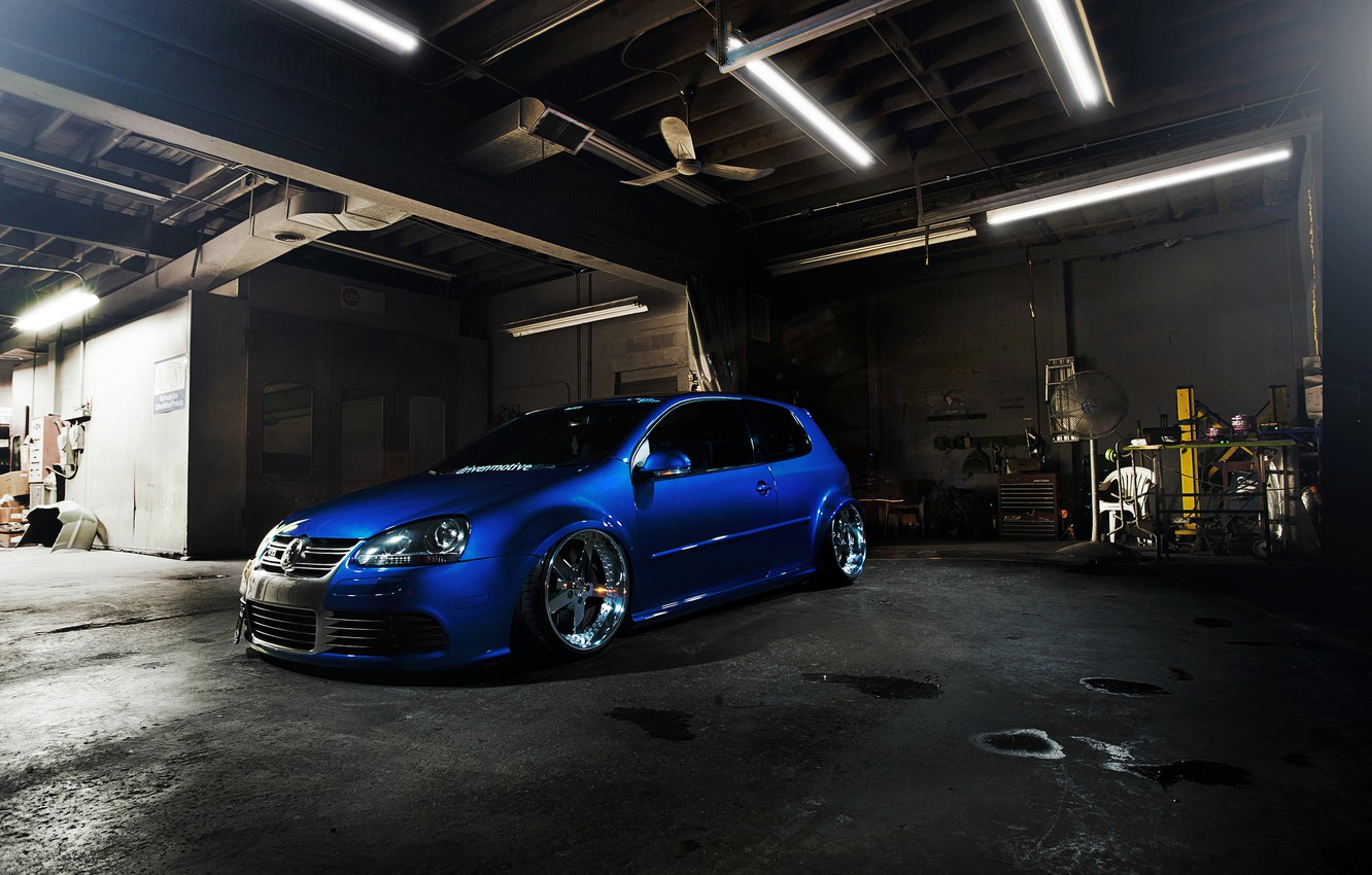 Photo wallpaper blue, tuning, volkswagen, Golf, golf, the front, gti