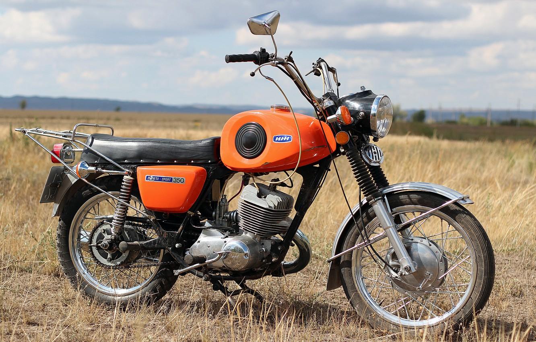 Photo wallpaper the sky, grass, Field, motorcycle, USSR, IZH - Planeta - Sport