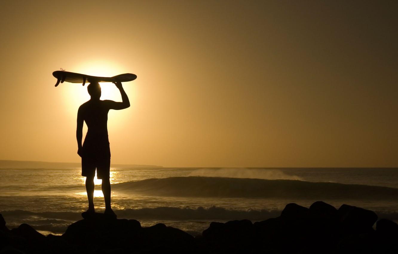 Photo wallpaper the sun, the ocean, the evening, guy, fun, surfing, riding