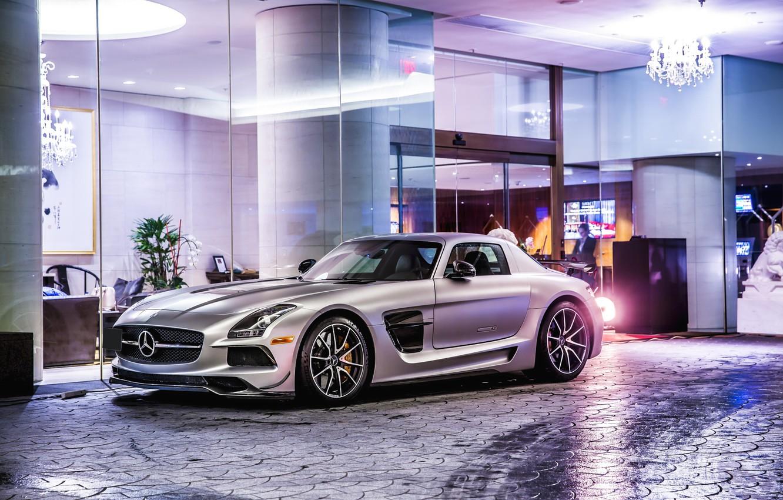 Photo wallpaper Mercedes-Benz, SLS, Black Series, silvery, C197, 63 AMG