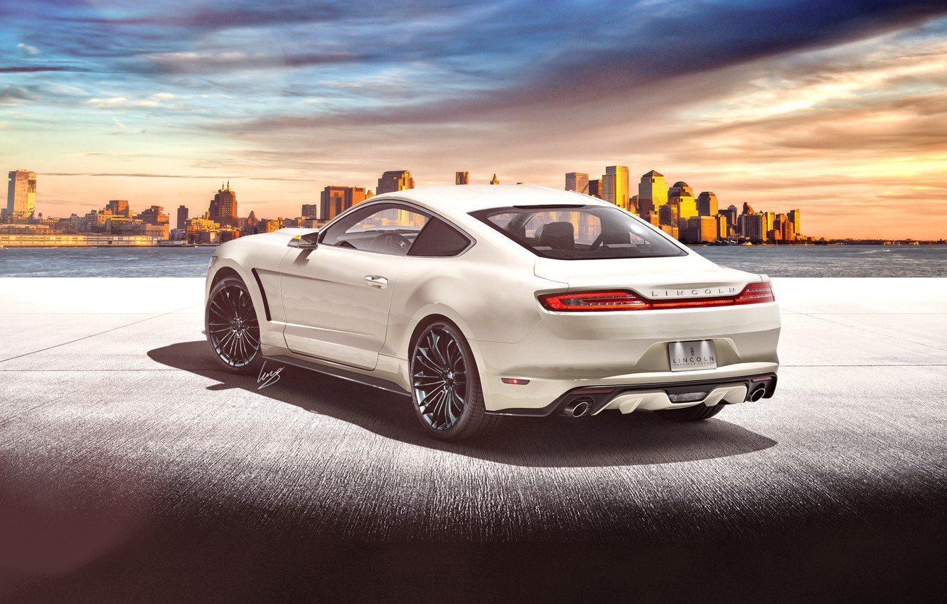 Photo wallpaper white, render, rear, render, Lincoln, Lincoln MK, on Ford Mustang base