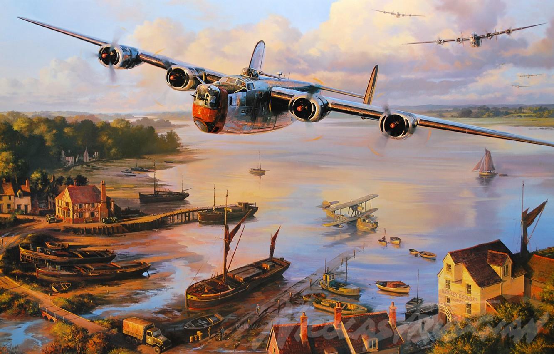Photo wallpaper aircraft, war, art, airplane, aviation, ww2, dogfight, b24 liberator
