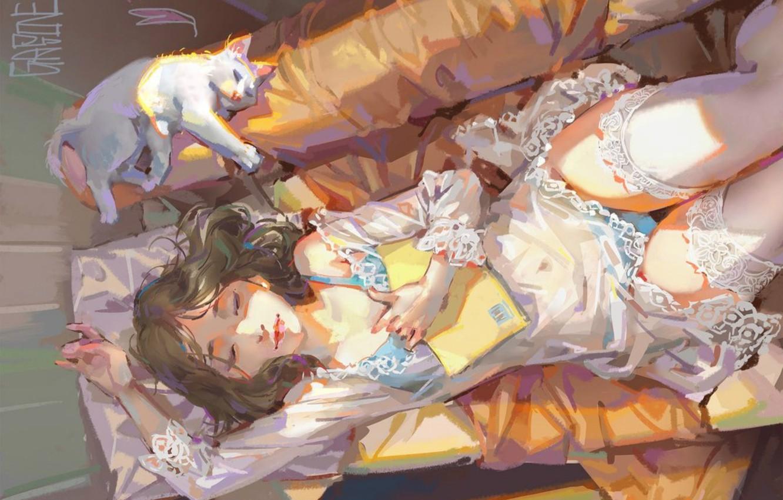 Photo wallpaper girl, sofa, sleep, negligee, pillow, book, lace, art, gasone, white stockings, white cat