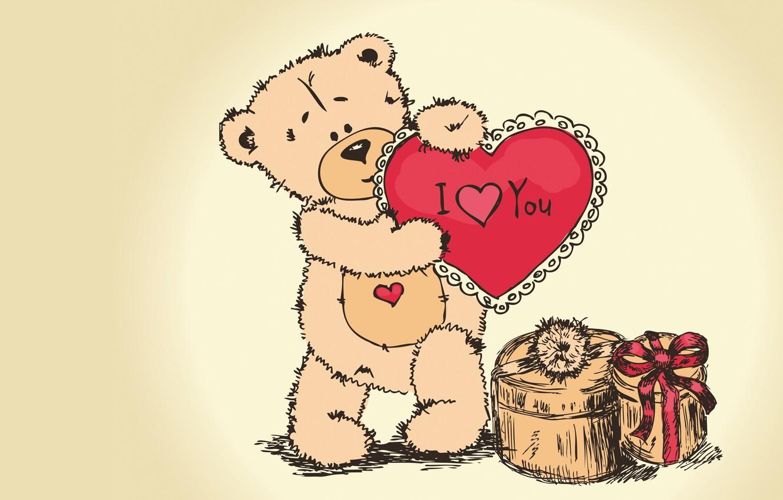Photo wallpaper gift, bear, Valentine's day, Teddy, i love you, teddy bear, valentines day