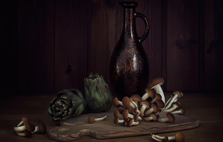 Wallpaper Mushrooms Pitcher Still Life Artichoke Images