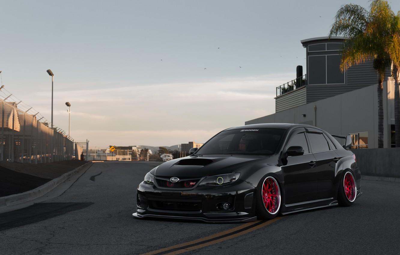 Photo wallpaper Subaru, Impreza, WRX, Red, STI, Black, Wheels, Track