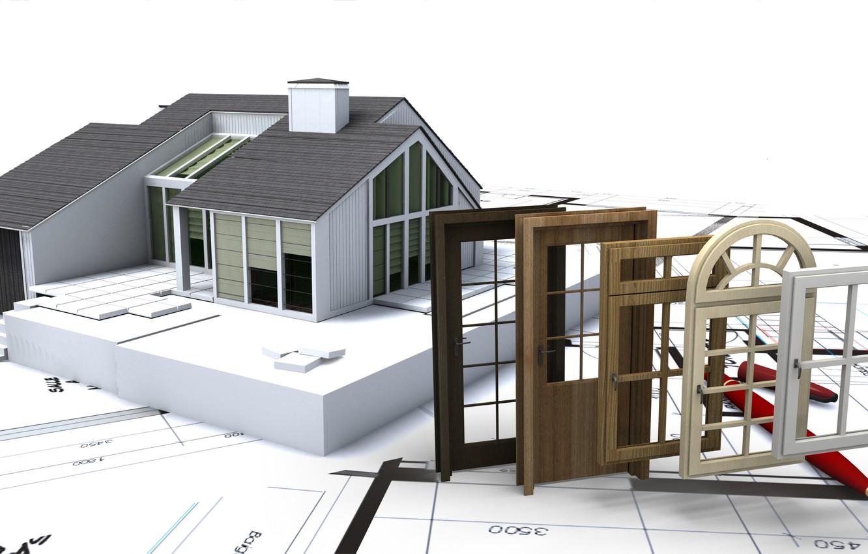 Photo wallpaper architecture, construction, design. windows, openings