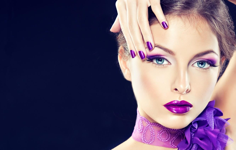 Wallpaper Girl Hand Portrait Makeup Beauty Lilac Makeup Images For Desktop Section Devushki Download