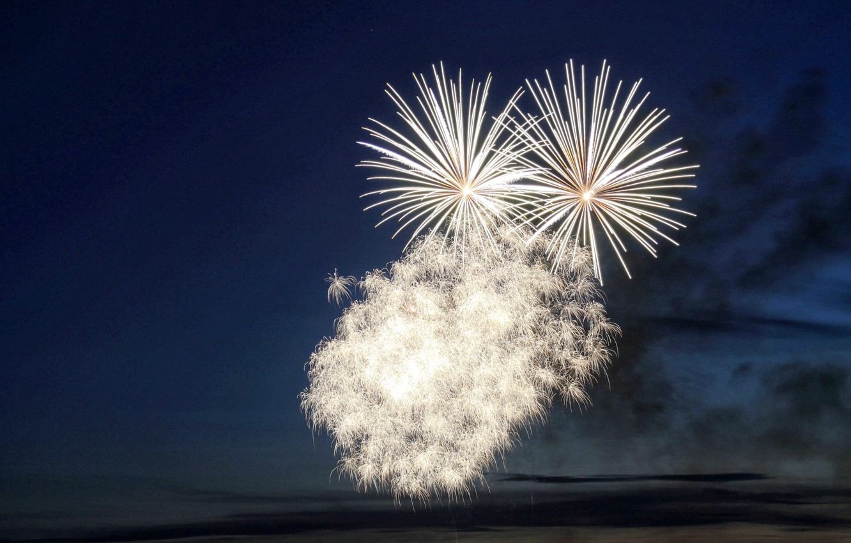 Photo wallpaper night, holiday, white fireworks