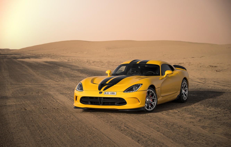 Photo wallpaper road, desert, Dodge, sports car, Viper, Dodge Viper, sports car, 2013 Dodge SRT Viper GTS