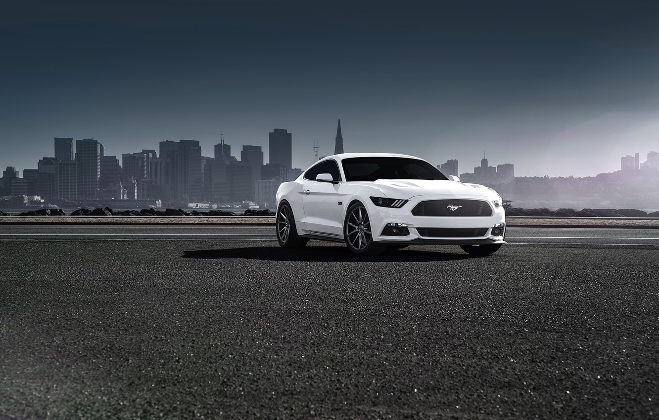 Photo wallpaper Mustang, Ford, Muscle, Car, Front, White, Vossen, Wheels, 2015