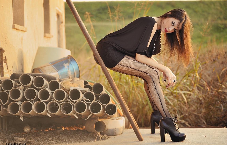 Photo wallpaper Legs, Body, View, Heels, Fashion, Hair, Tights, Sensual