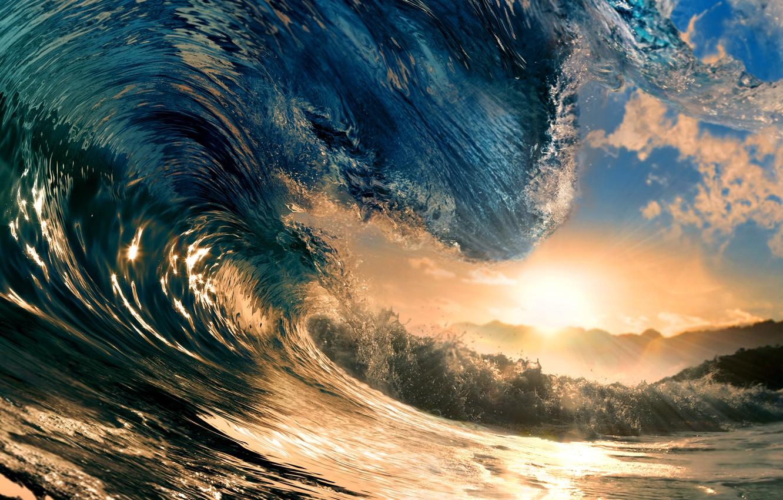 Photo wallpaper sea, the sky, water, the sun, rays, sunset, the ocean, wave, sky, sea, ocean, sunset, …