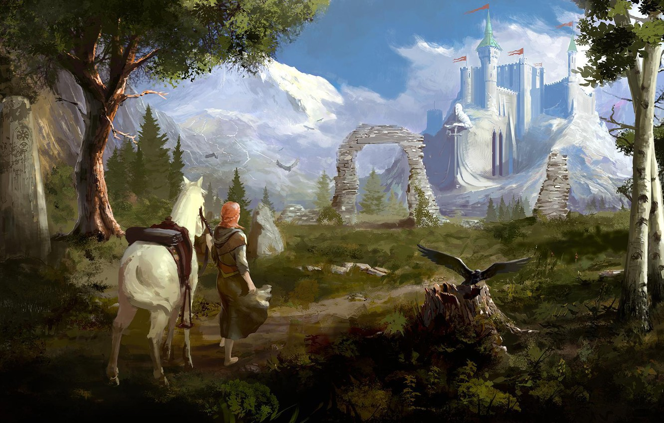 Photo wallpaper look, girl, trees, landscape, mountains, birds, castle, horse, art, track, fortress, green
