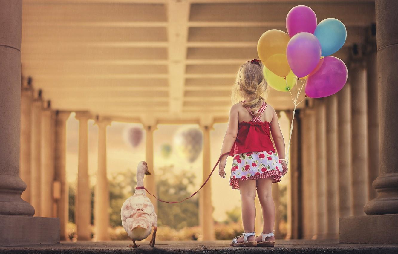 Photo wallpaper balls, dress, girl, leash, goose