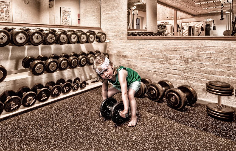Photo wallpaper child, dumbbells, gym