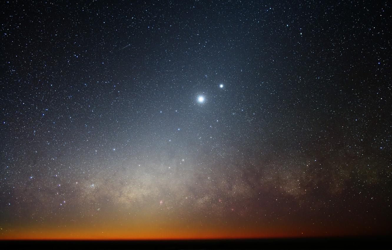 Photo wallpaper stars, The moon, horizon, The milky way, galaxy, Venus