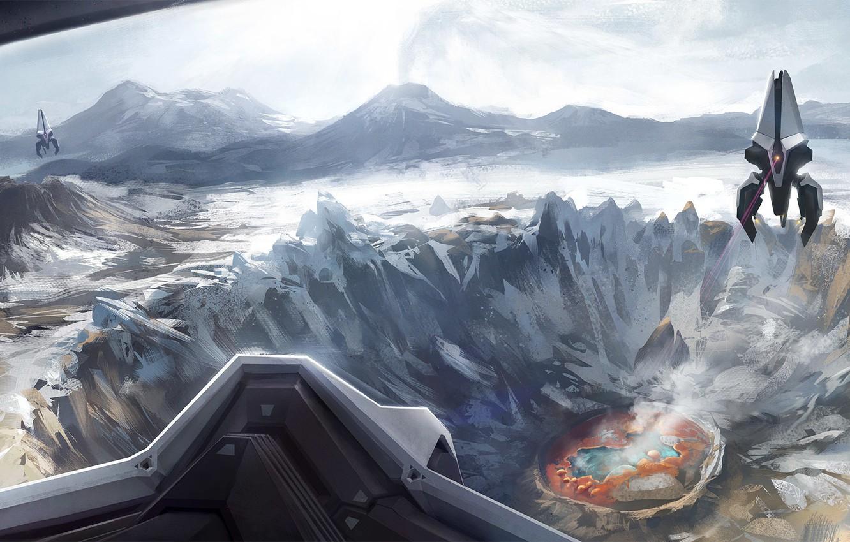 Photo wallpaper lake, ships, shot, art, laser, crater