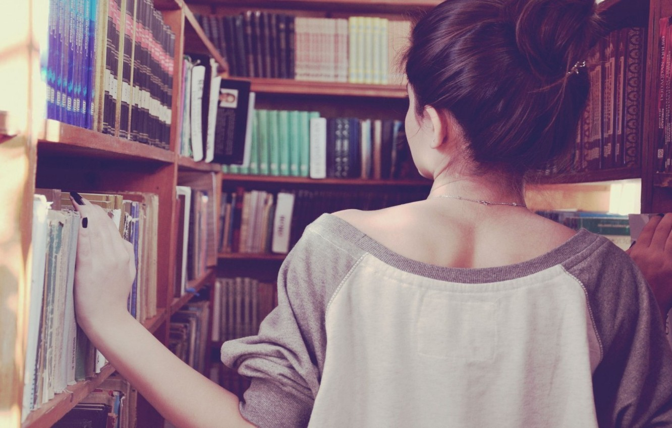 Photo wallpaper girl, search, background, situation, Wallpaper, back, books, brunette, shop, book, library