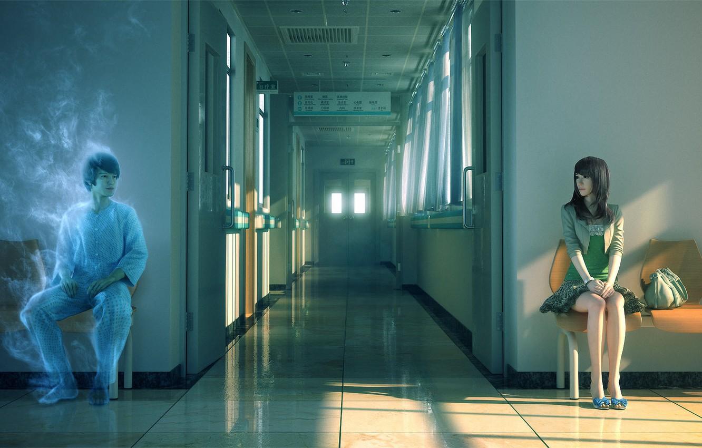 Photo wallpaper girl, the sun, sunset, chairs, spirit, art, corridor, Ghost, hospital, guy, bag, sitting, Yao Yonglin