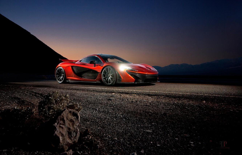 Photo wallpaper McLaren, Orange, Front, Death, Sand, Supercar, Valley, Hypercar, Exotic, Volcano