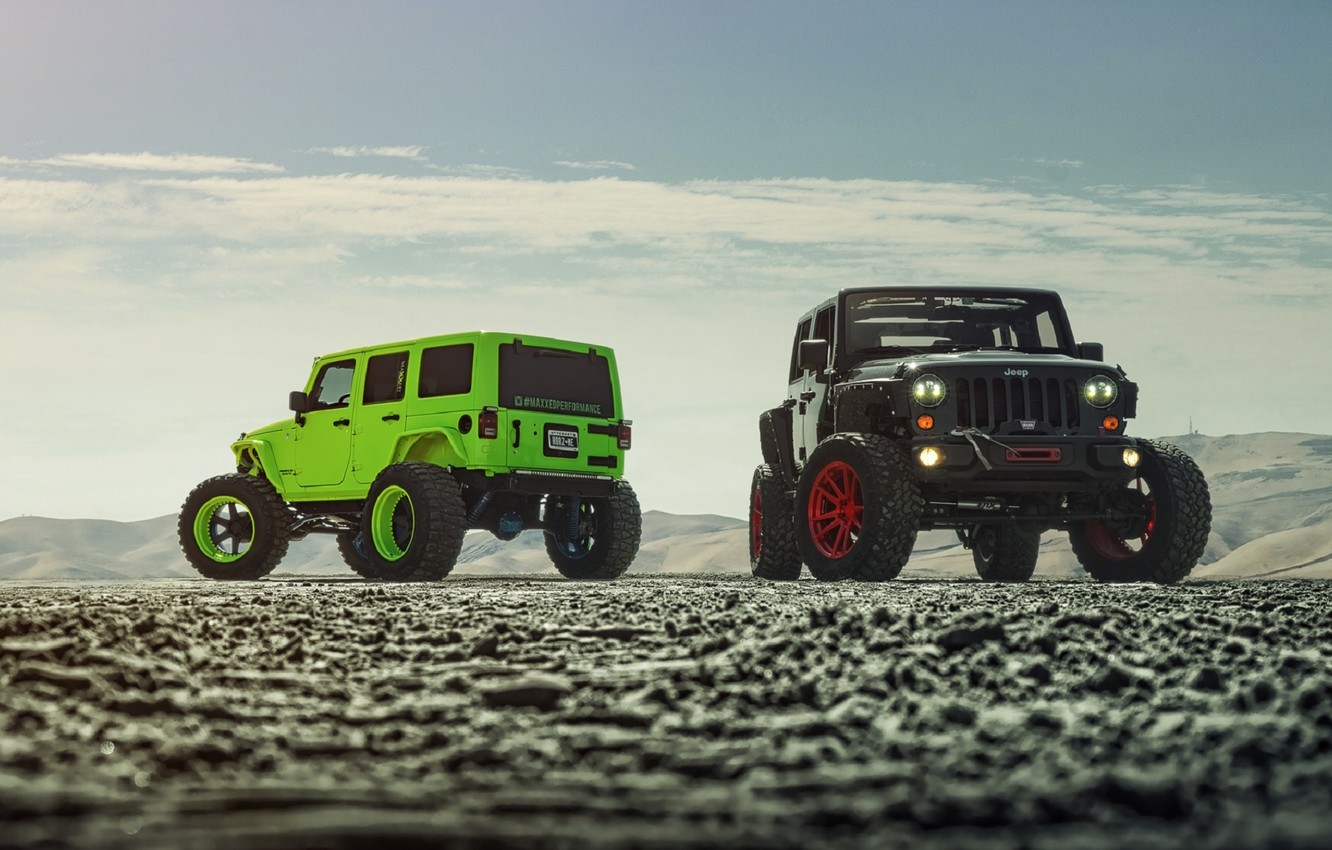Photo wallpaper Green, Front, Black, Forged, Custom, Wrangler, Jeep, Wheels, Track, ADV1, Function