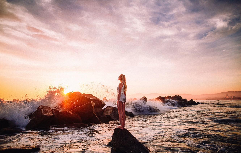 Photo wallpaper The sun, Sea, Beach, Girl, Wave, Beauty, Glare