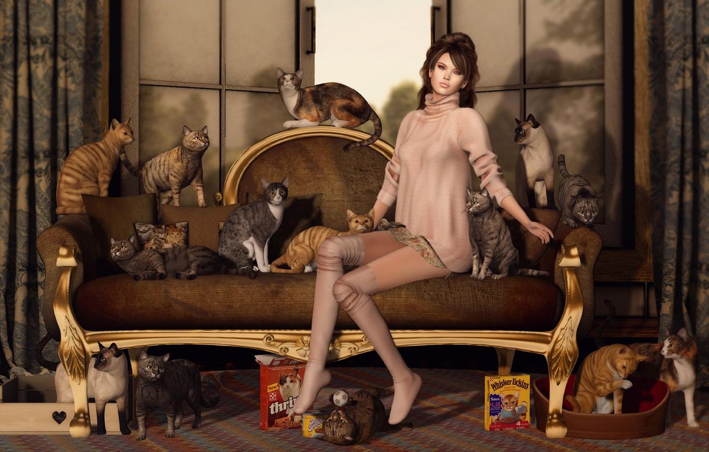 Photo wallpaper girl, cats, face, sofa, cats, hair, legs, sitting