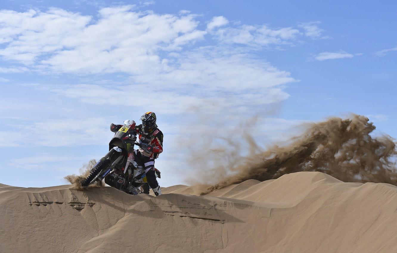 Photo wallpaper The sky, Day, Motorcycle, Heat, racer, Dakar, Dakar, Gas, Dune