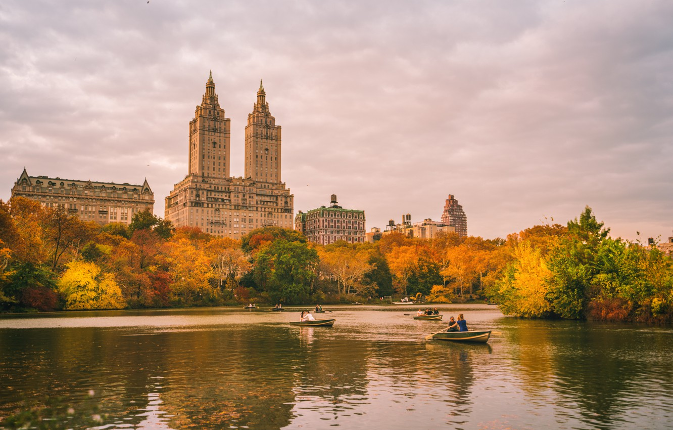 Photo wallpaper autumn, the sky, clouds, trees, lake, reflection, people, foliage, New York, boats, mirror, Central Park, …