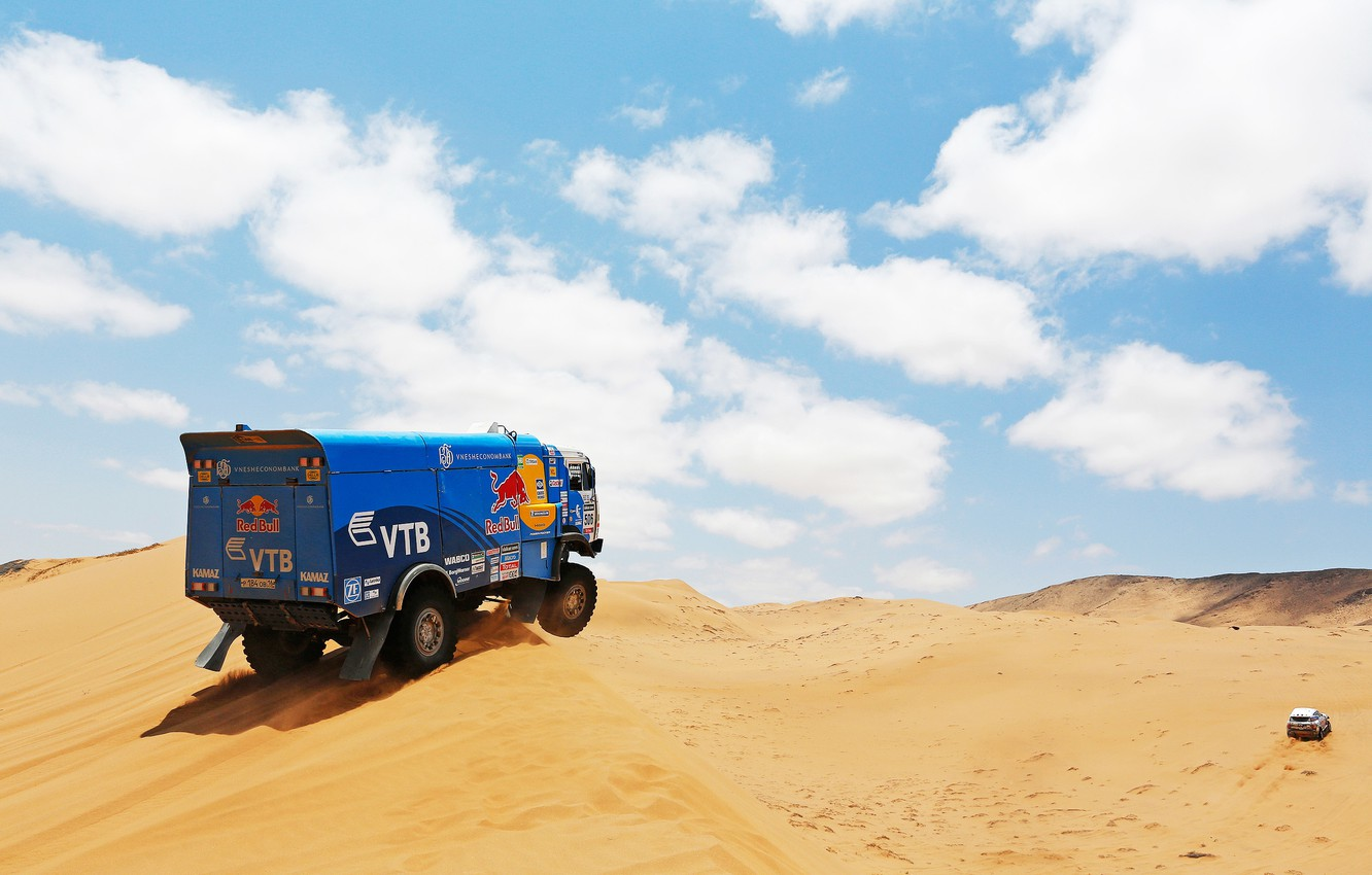 Photo wallpaper Sand, Clouds, Blue, Sport, Machine, Truck, Race, Kamaz, Rally, Dakar, KAMAZ, 2014, Dune