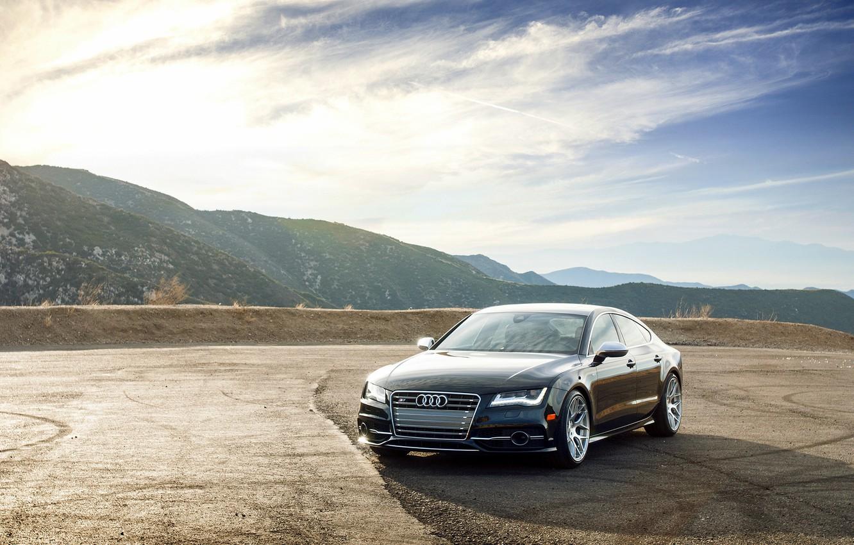 Photo wallpaper mountains, Audi, Audi, black, wheels, black, front
