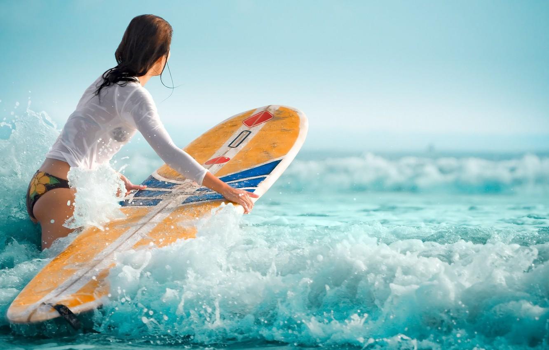Photo wallpaper waves, girl, surfboard