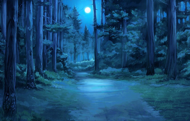 Photo wallpaper forest, night, everlasting summer, endless summer, iichan-eroge
