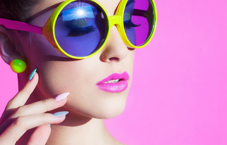 Photo wallpaper girl, face, eyelashes, style, background, earrings, hands, makeup, glasses, neck