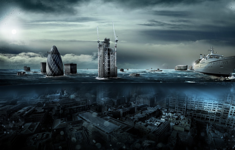 Photo wallpaper water, London, the flood, liner, Alexander Koshelkov