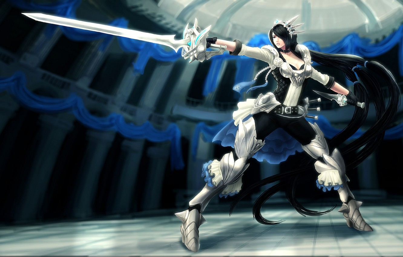 Photo wallpaper girl, weapons, sword, armor, stand, league of legends