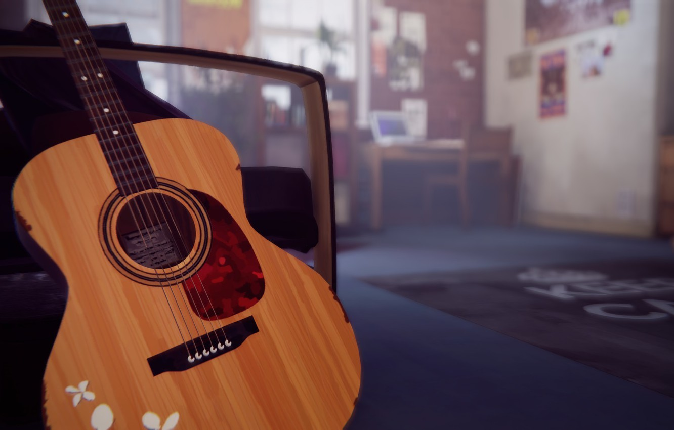 Photo wallpaper room, the game, guitar, Life is Strange